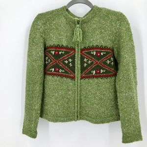 K. C. Parker Green Zip Linen Wool  Blend Sweater
